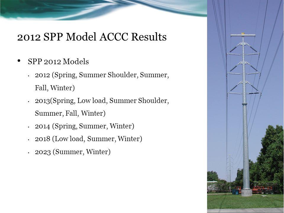 2012 SPP Model ACCC Results SPP 2012 Models 2012 (Spring, Summer Shoulder, Summer, Fall, Winter) 2013(Spring, Low load, Summer Shoulder, Summer, Fall,