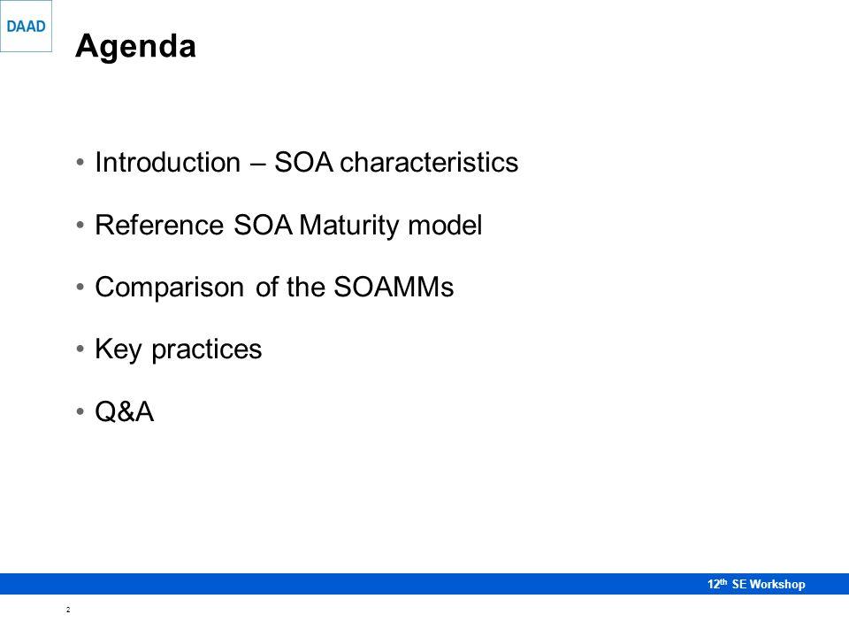 3 12 th SE Workshop SOA characteristics SOA foundation is a service.