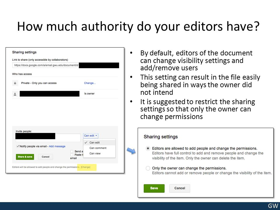 GW How much authority do your editors have? By default, editors of the document can change visibility settings and add/remove users This setting can r