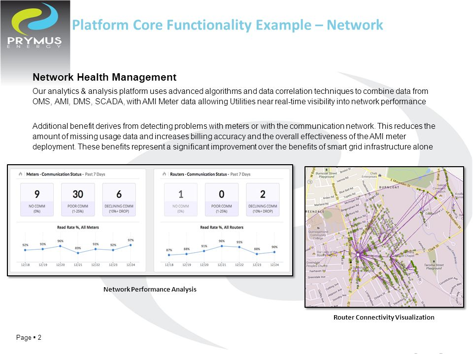 Page  2 Network Health Management Our analytics & analysis platform uses advanced algorithms and data correlation techniques to combine data from OMS, AMI, DMS, SCADA, with AMI Meter data allowing Utilities near real-time visibility into network performance Additional benefit derives from detecting problems with meters or with the communication network.