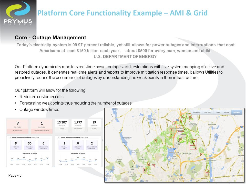 Page  3 Platform Core Functionality Example – AMI & Grid Core - Outage Management Today's electricity system is 99.97 percent reliable, yet still allows for power outages and interruptions that cost Americans at least $150 billion each year — about $500 for every man, woman and child.