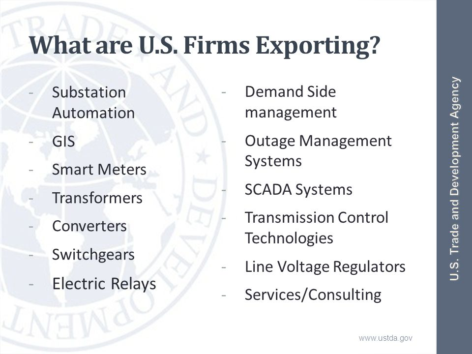 www.ustda.gov What are U.S. Firms Exporting.