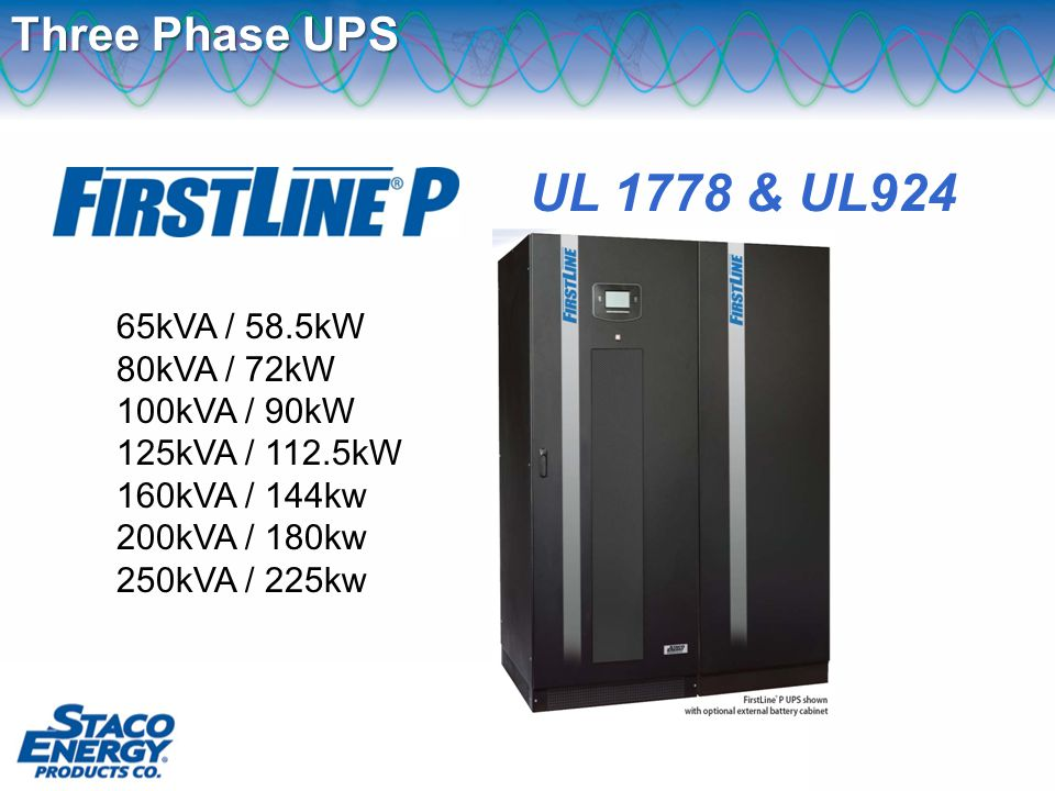 Three Phase UPS 65kVA / 58.5kW 80kVA / 72kW 100kVA / 90kW 125kVA / 112.5kW 160kVA / 144kw 200kVA / 180kw 250kVA / 225kw UL 1778 & UL924