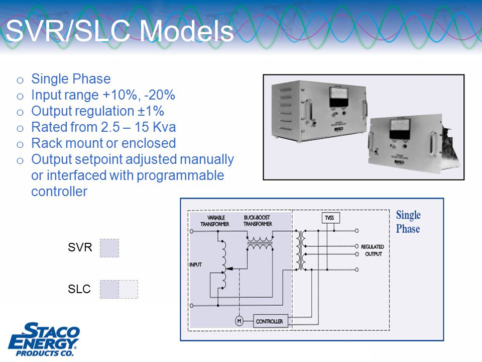 SVR/SLC Models o Single Phase o Input range +10%, -20% o Output regulation ±1% o Rated from 2.5 – 15 Kva o Rack mount or enclosed o Output setpoint adjusted manually or interfaced with programmable controller SVR SLC
