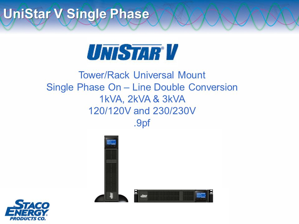 Tower/Rack Universal Mount Single Phase On – Line Double Conversion 1kVA, 2kVA & 3kVA 120/120V and 230/230V.9pf UniStar V Single Phase