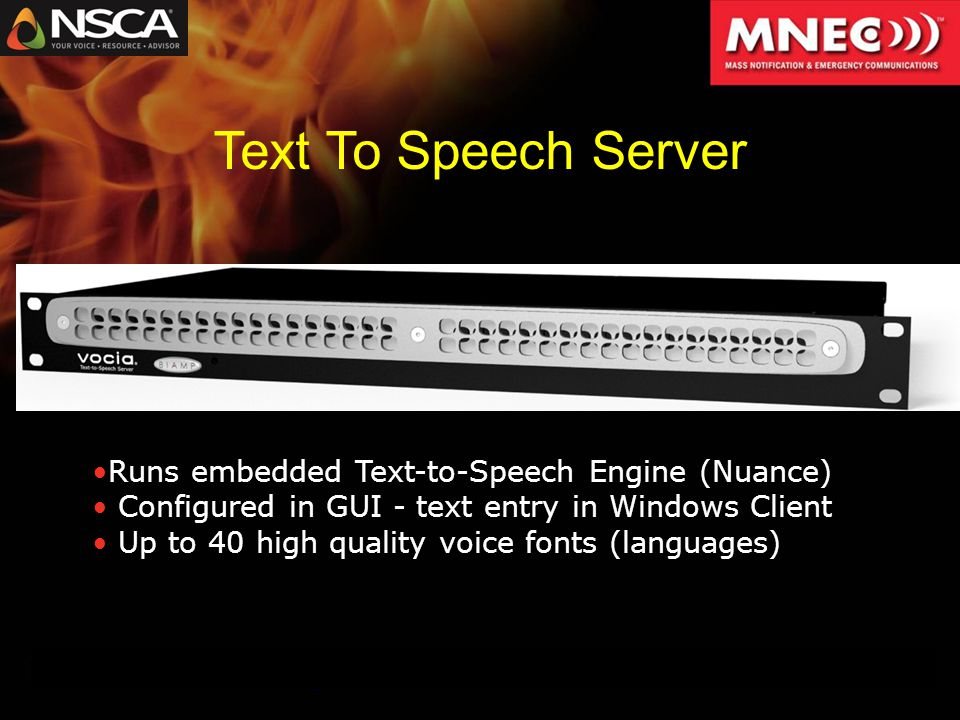 Text To Speech Server Runs embedded Text-to-Speech Engine (Nuance) Configured in GUI - text entry in Windows Client Up to 40 high quality voice fonts (languages)