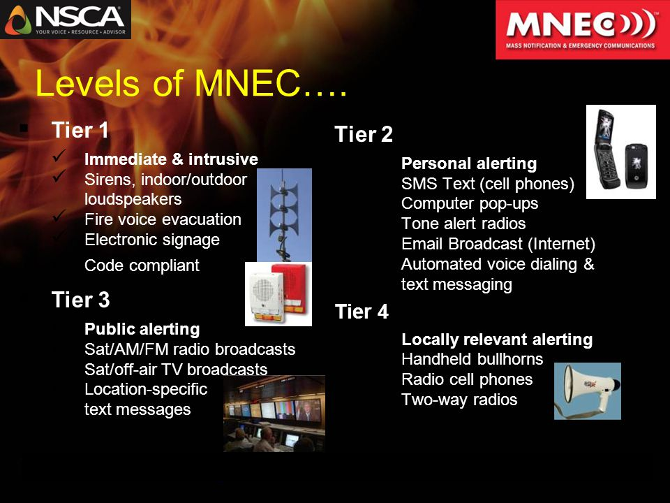 MNEC is NOT Fire Alarm Fire Alarm is an Input Mass Messaging Email SMS Textual Signage Paging System