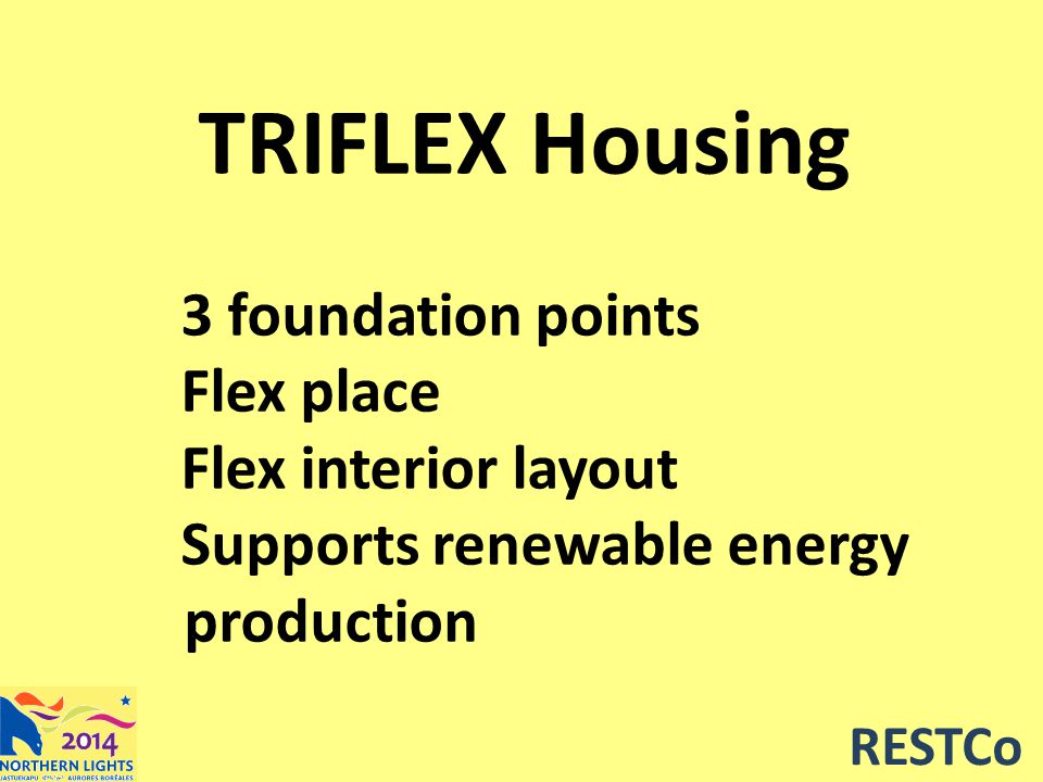 TRIFLEX Housing 3 foundation points Flex place Flex interior layout Supports renewable energy production