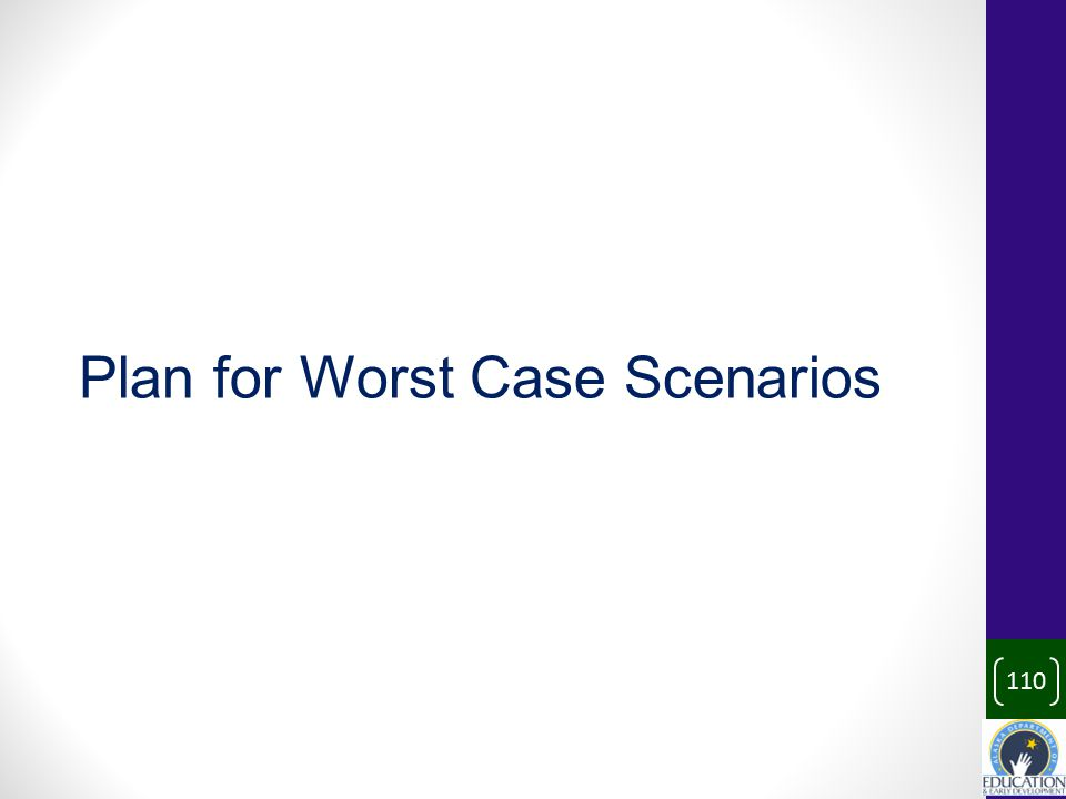 110 Plan for Worst Case Scenarios