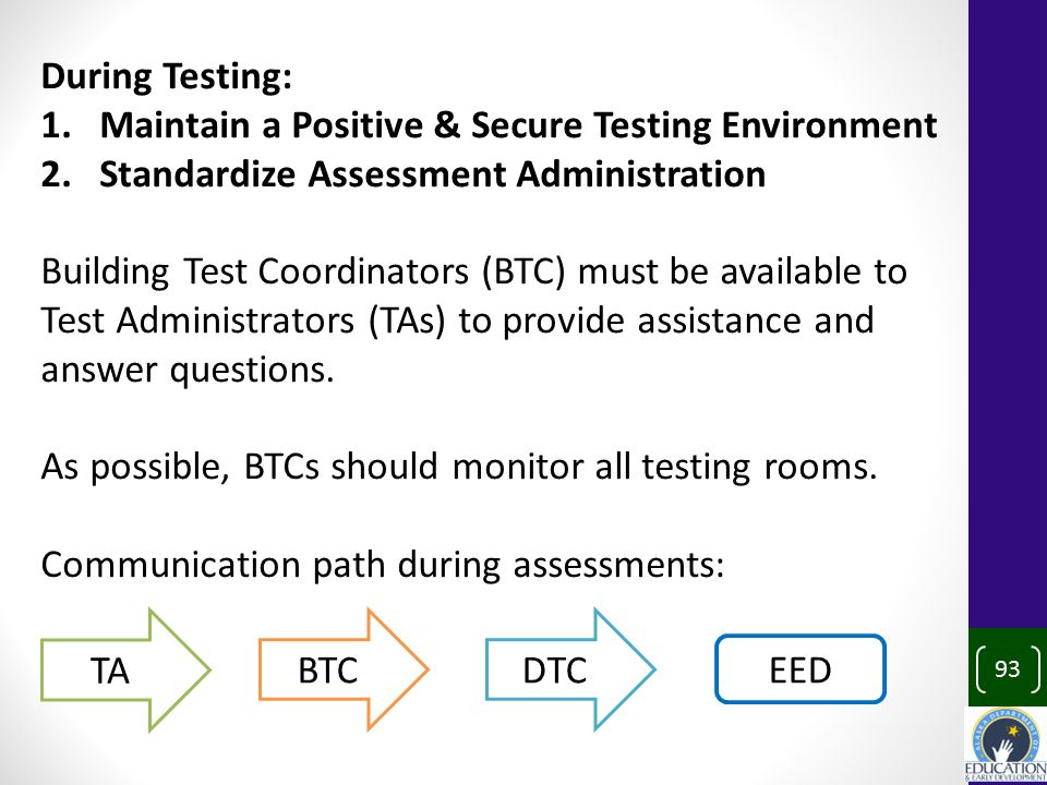 93 During Testing: 1.Maintain a Positive & Secure Testing Environment 2.Standardize Assessment Administration Building Test Coordinators (BTC) must be available to Test Administrators (TAs) to provide assistance and answer questions.