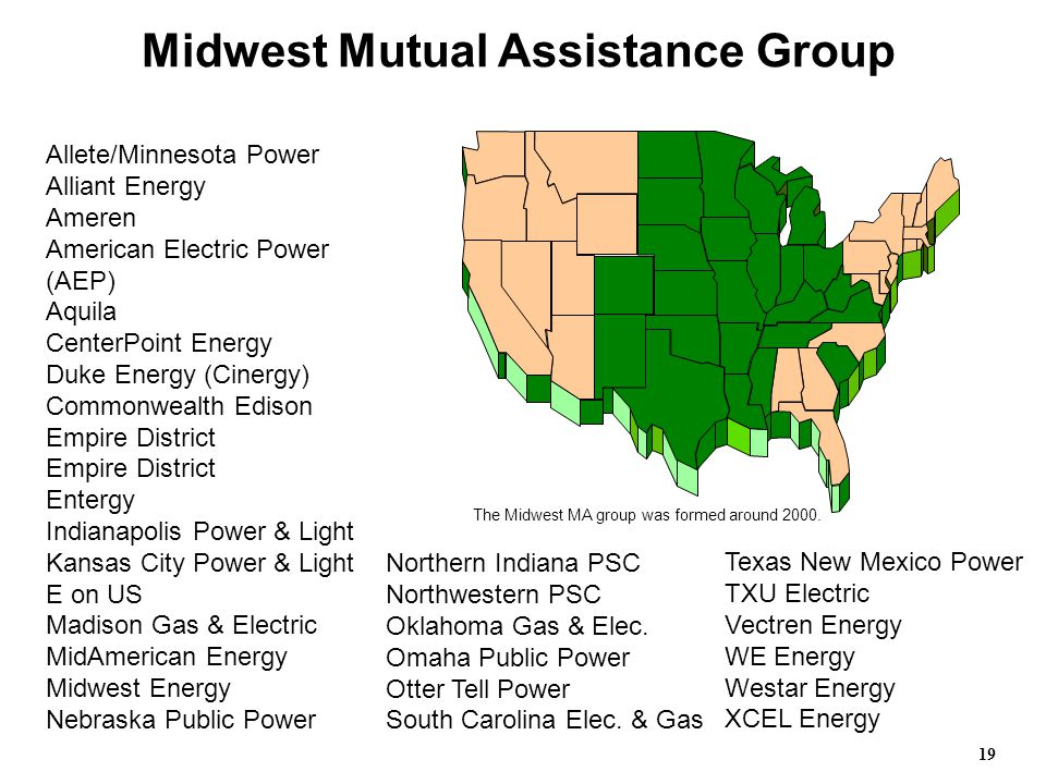Allete/Minnesota Power Alliant Energy Ameren American Electric Power (AEP) Aquila CenterPoint Energy Duke Energy (Cinergy) Commonwealth Edison Empire District Empire District Entergy Indianapolis Power & Light Kansas City Power & Light E on US Madison Gas & Electric MidAmerican Energy Midwest Energy Nebraska Public Power Midwest Mutual Assistance Group Northern Indiana PSC Northwestern PSC Oklahoma Gas & Elec.