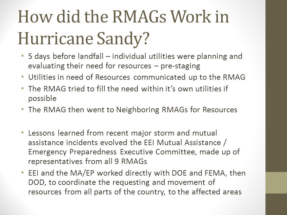 How did the RMAGs Work in Hurricane Sandy.