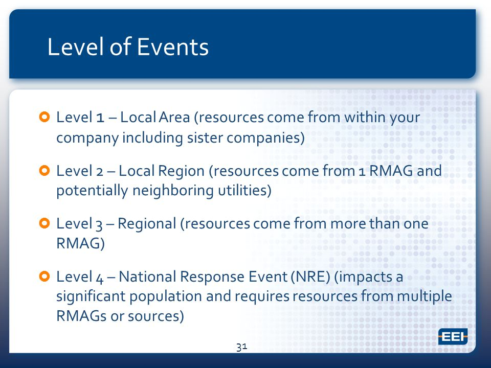 Level of Events  Level 1 – Local Area (resources come from within your company including sister companies)  Level 2 – Local Region (resources come from 1 RMAG and potentially neighboring utilities)  Level 3 – Regional (resources come from more than one RMAG)  Level 4 – National Response Event (NRE) (impacts a significant population and requires resources from multiple RMAGs or sources) 31