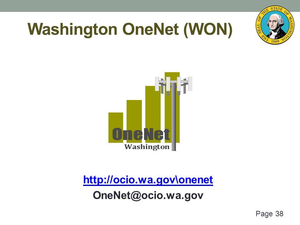 Page 38 Washington OneNet (WON) http://ocio.wa.gov\onenet OneNet@ocio.wa.gov
