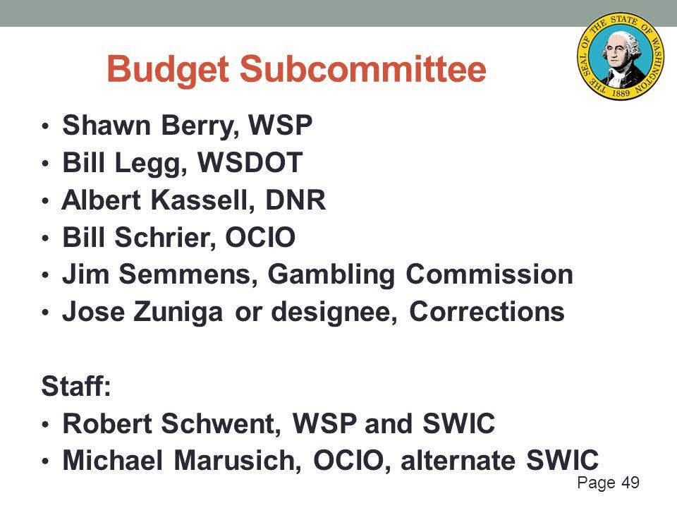 Page 49 Budget Subcommittee Shawn Berry, WSP Bill Legg, WSDOT Albert Kassell, DNR Bill Schrier, OCIO Jim Semmens, Gambling Commission Jose Zuniga or d