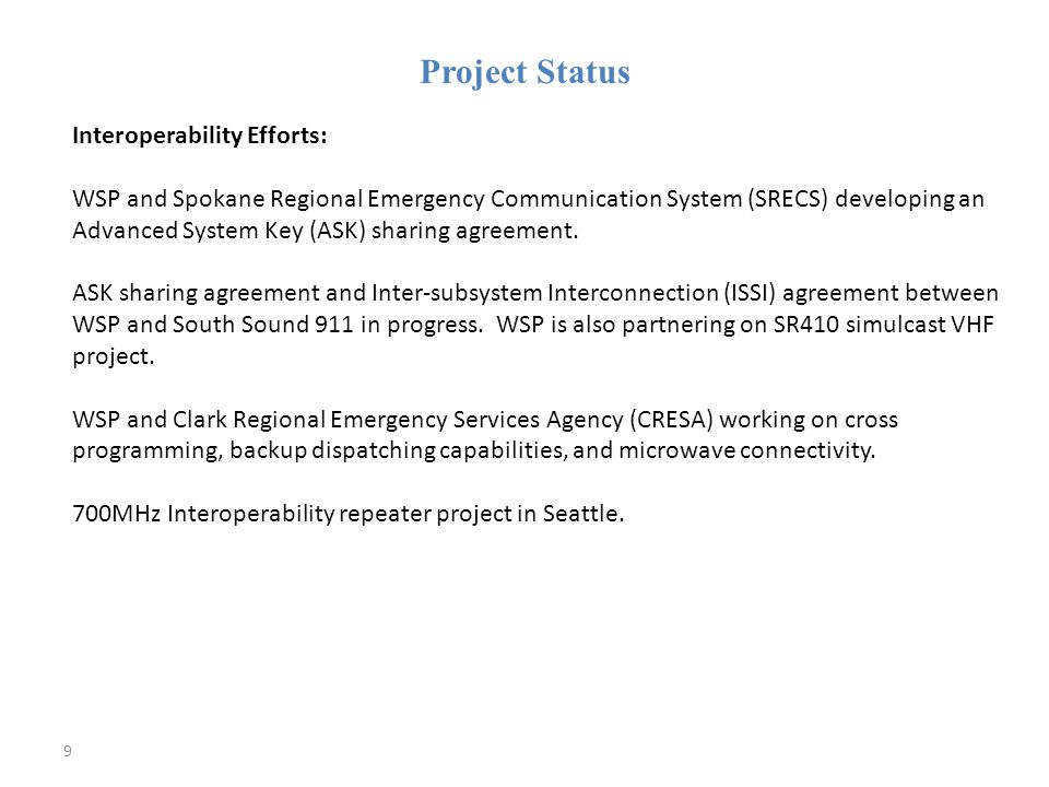 Page 50 Topics: Budget Subcommittee SWIC Staffing SIEC Staffing – frequency coordination COML/COMT/AUXCOMM lists, training, certification, exercises, meetings Field Operations Guides (FOG) Statewide Communications Interoperability Plan (SCIP) and NECP Work with locals to prepare comms for next disaster, major incidents