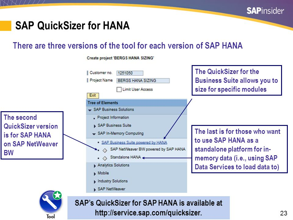 23 SAP QuickSizer for HANA There are three versions of the tool for each version of SAP HANA SAP's QuickSizer for SAP HANA is available at http://serv