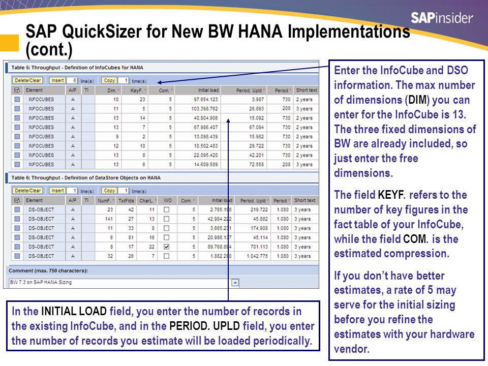 26 SAP QuickSizer for New BW HANA Implementations (cont.) In the INITIAL LOAD field, you enter the number of records in the existing InfoCube, and in