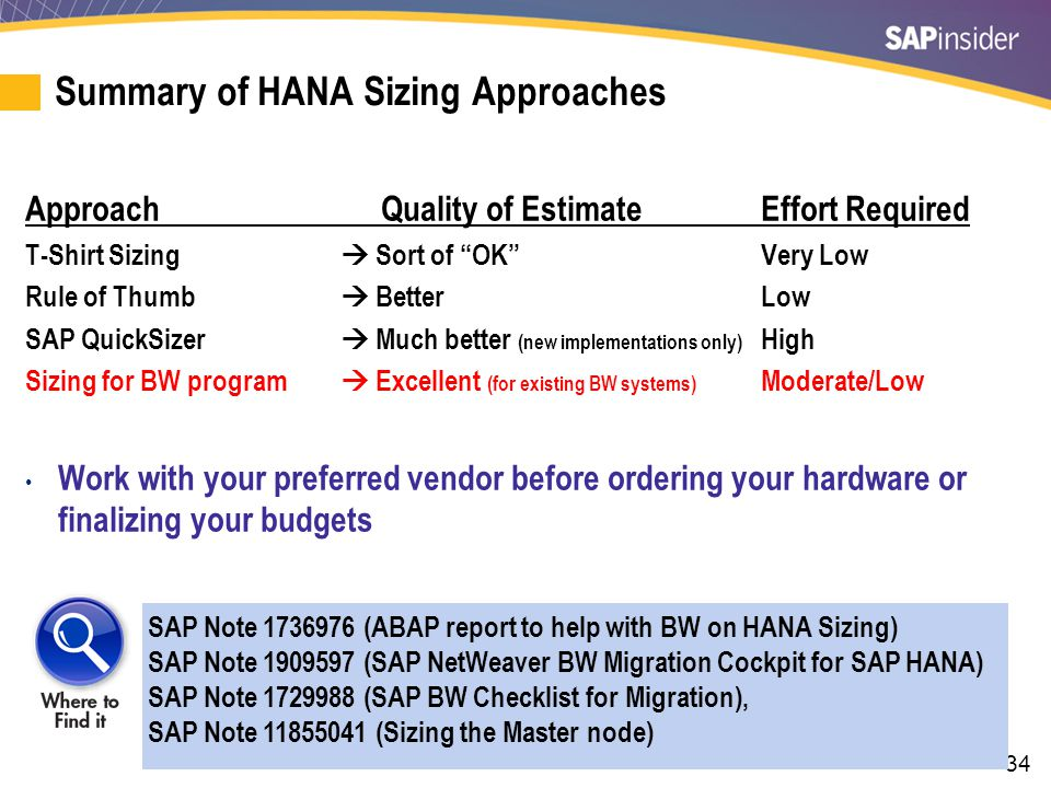 """34 Summary of HANA Sizing Approaches Approach Quality of EstimateEffort Required T-Shirt Sizing  Sort of """"OK""""Very Low Rule of Thumb  Better Low SAP"""