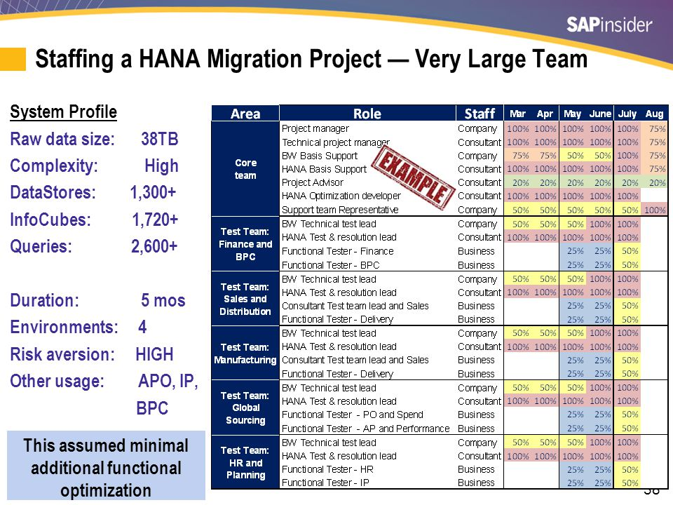 38 Staffing a HANA Migration Project — Very Large Team System Profile Raw data size: 38TB Complexity: High DataStores: 1,300+ InfoCubes: 1,720+ Querie