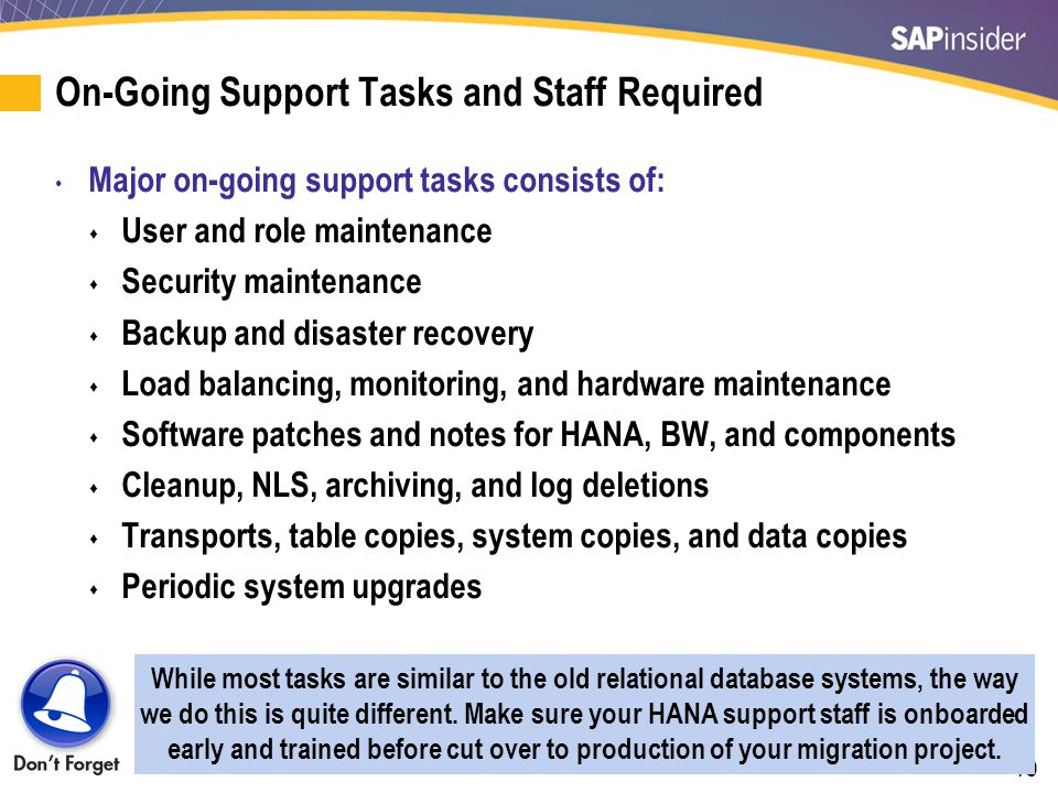 40 On-Going Support Tasks and Staff Required Major on-going support tasks consists of:  User and role maintenance  Security maintenance  Backup and