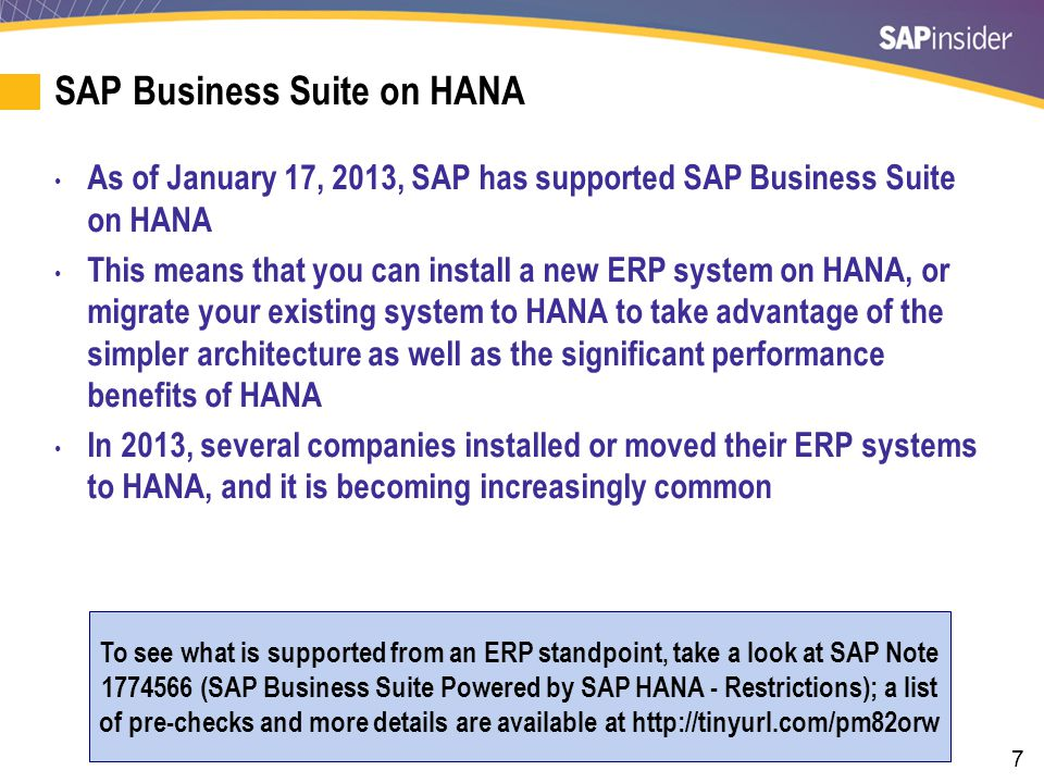 28 SAP BW on HANA Sizing Tool for Existing BW Implementations SAP has released an updated tool that generates a report significantly better for sizing SAP BW than using the QuickSizer.