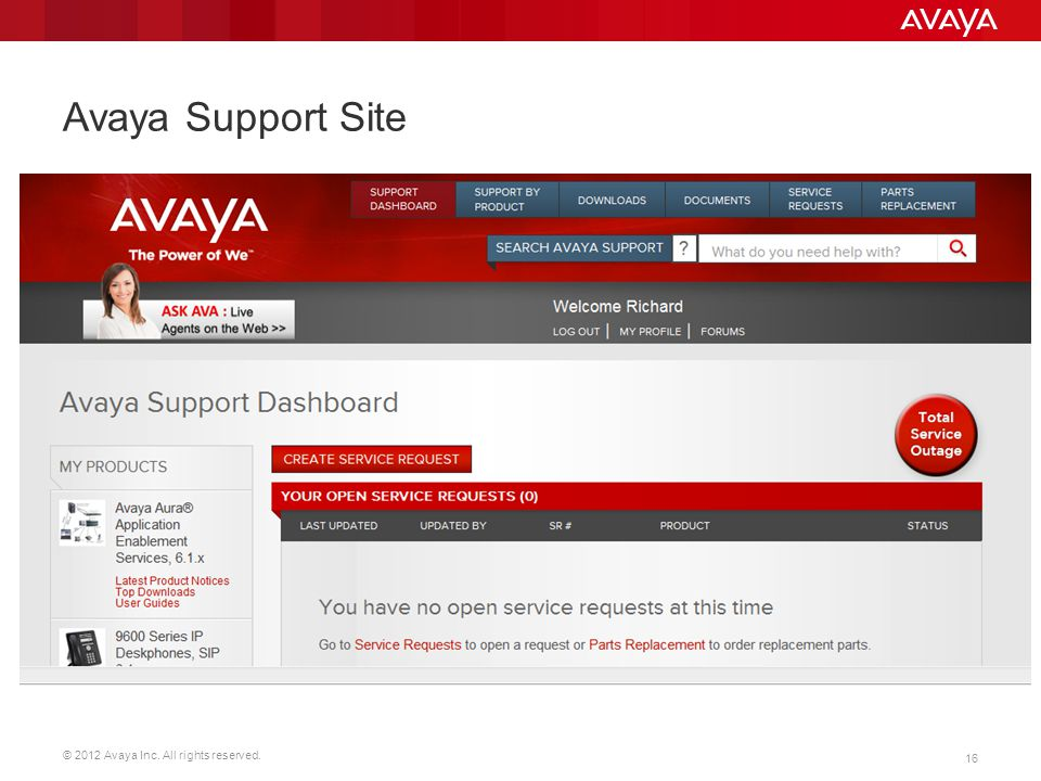 © 2012 Avaya Inc. All rights reserved. 16 Avaya Support Site