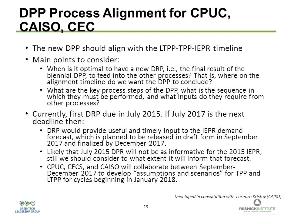 23 DPP Process Alignment for CPUC, CAISO, CEC The new DPP should align with the LTPP-TPP-IEPR timeline Main points to consider: When is it optimal to have a new DRP, i.e., the final result of the biennial DPP, to feed into the other processes.
