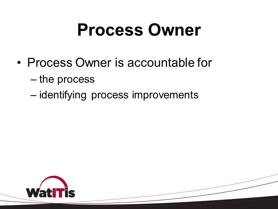 Process Owner Process Owner is accountable for –the process –identifying process improvements