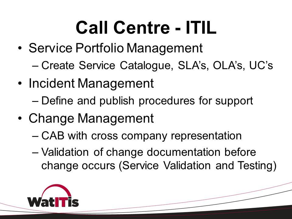 Call Centre - ITIL Service Portfolio Management –Create Service Catalogue, SLA's, OLA's, UC's Incident Management –Define and publish procedures for s