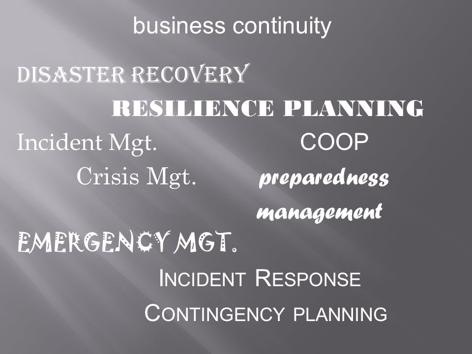 business continuity Disaster Recovery RESILIENCE PLANNING Incident Mgt.