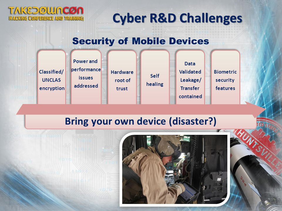 Bring your own device (disaster?) Biometric security features Biometric security features Classified/ UNCLAS encryption Classified/ UNCLAS encryption Power and performance issues addressed Power and performance issues addressed Hardware root of trust Hardware root of trust Self healing Self healing Data Validated Leakage/ Transfer contained Data Validated Leakage/ Transfer contained Security of Mobile Devices Cyber R&D Challenges