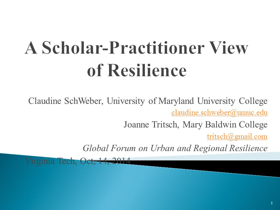 Claudine SchWeber, University of Maryland University College claudine.schweber@umuc.edu Joanne Tritsch, Mary Baldwin College tritsch@gmail.com Global Forum on Urban and Regional Resilience Virginia Tech, Oct, 14, 2014 1