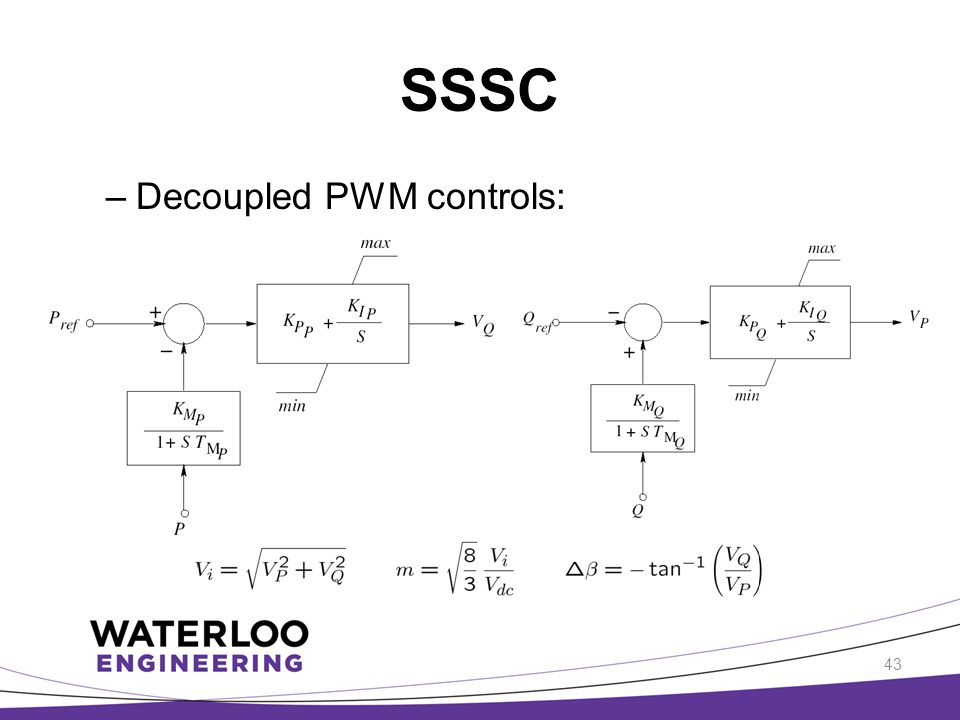 SSSC –Decoupled PWM controls: 43