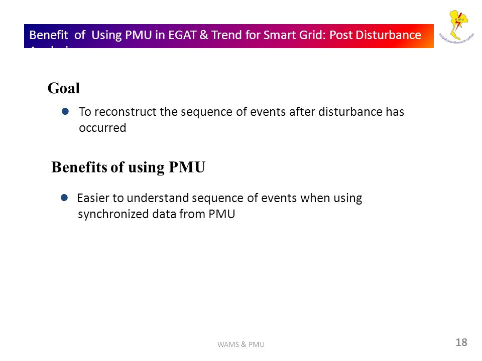 18 Benefit of Using PMU in EGAT & Trend for Smart Grid: Post Disturbance Analysis To reconstruct the sequence of events after disturbance has occurred Goal Benefits of using PMU Easier to understand sequence of events when using synchronized data from PMU WAMS & PMU
