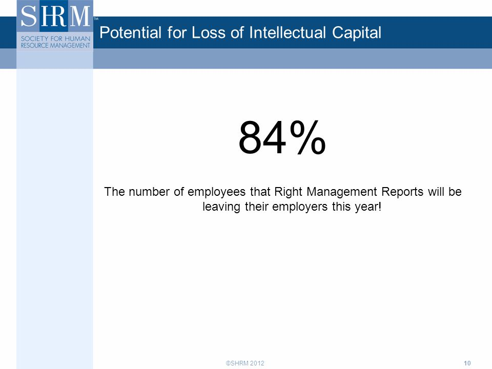 ©SHRM 2012 Potential for Loss of Intellectual Capital 84% The number of employees that Right Management Reports will be leaving their employers this y