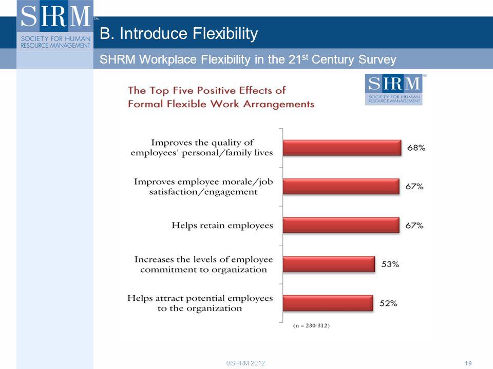 ©SHRM 2012 B. Introduce Flexibility 19 SHRM Workplace Flexibility in the 21 st Century Survey