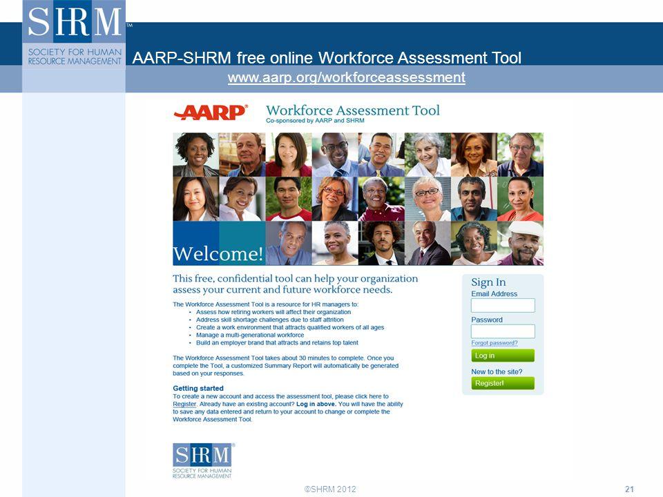 ©SHRM 2012 21 AARP-SHRM free online Workforce Assessment Tool www.aarp.org/workforceassessment