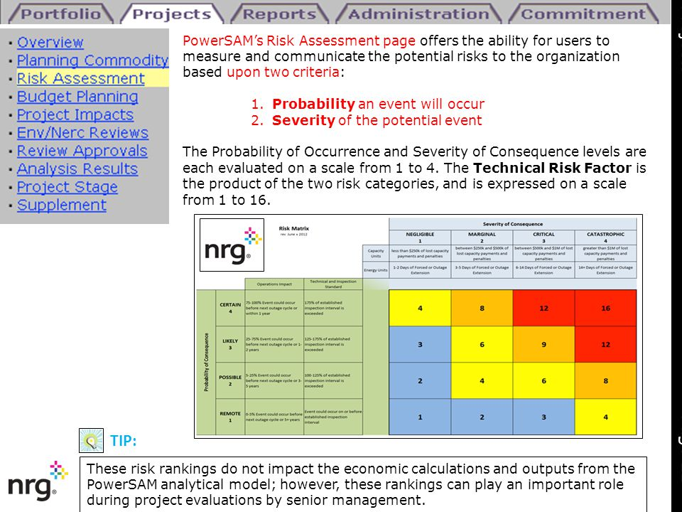 PowerSAM's Risk Assessment page offers the ability for users to measure and communicate the potential risks to the organization based upon two criteri