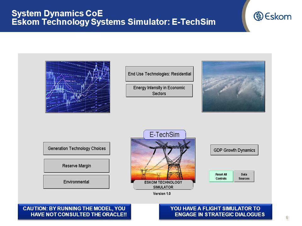 System Dynamics CoE Eskom Technology Systems Simulator: E-TechSim 7