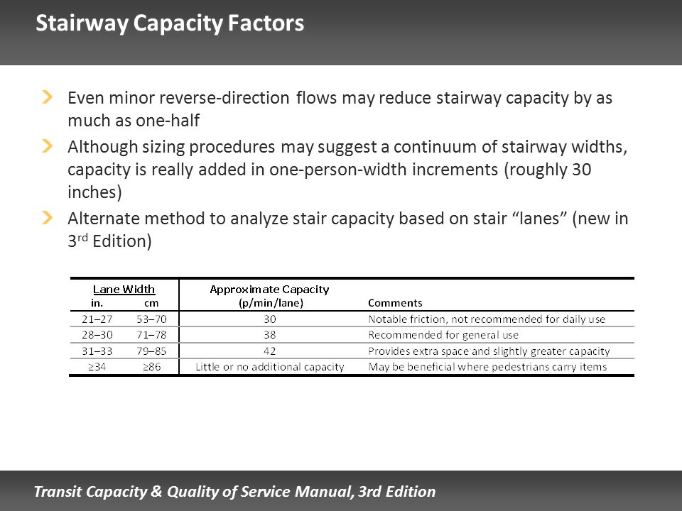 Transit Capacity & Quality of Service Manual, 3rd Edition Stairway Capacity Factors Even minor reverse-direction flows may reduce stairway capacity by