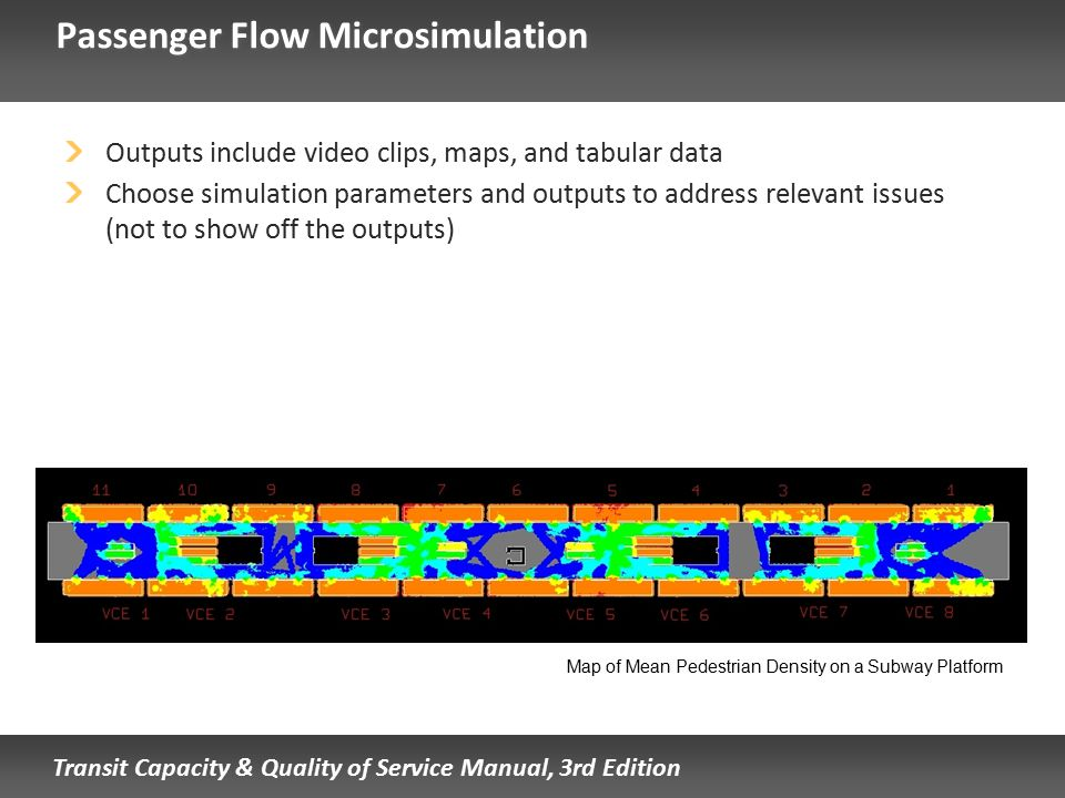 Transit Capacity & Quality of Service Manual, 3rd Edition Passenger Flow Microsimulation Outputs include video clips, maps, and tabular data Choose si