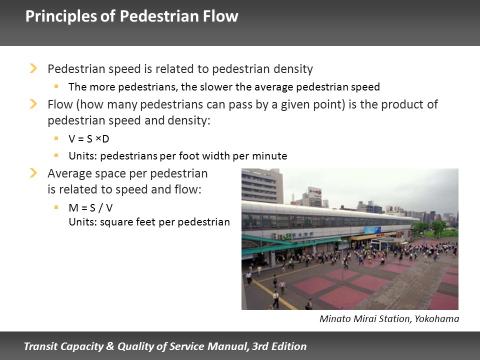 Transit Capacity & Quality of Service Manual, 3rd Edition Principles of Pedestrian Flow Pedestrian speed is related to pedestrian density  The more p
