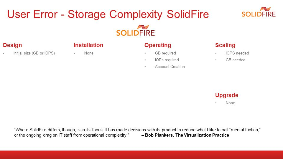 User Error - Storage Complexity SolidFire Design Initial size (GB or IOPS) Installation None Operating GB required IOPs required Account Creation Scal