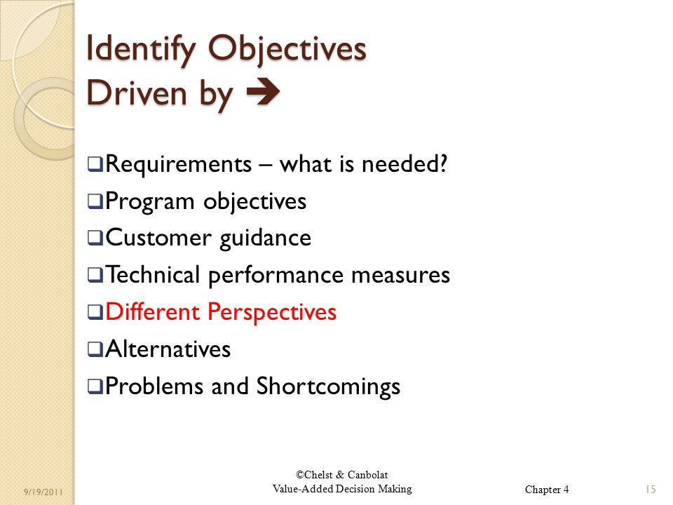 ©Chelst & Canbolat Value-Added Decision Making 9/19/2011 Identify Objectives Driven by   Requirements – what is needed.