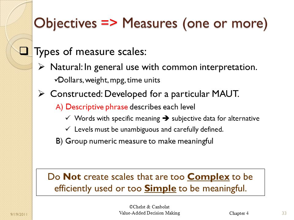 ©Chelst & Canbolat Value-Added Decision Making 9/19/2011 Objectives => Measures (one or more)  Types of measure scales:  Natural: In general use with common interpretation.