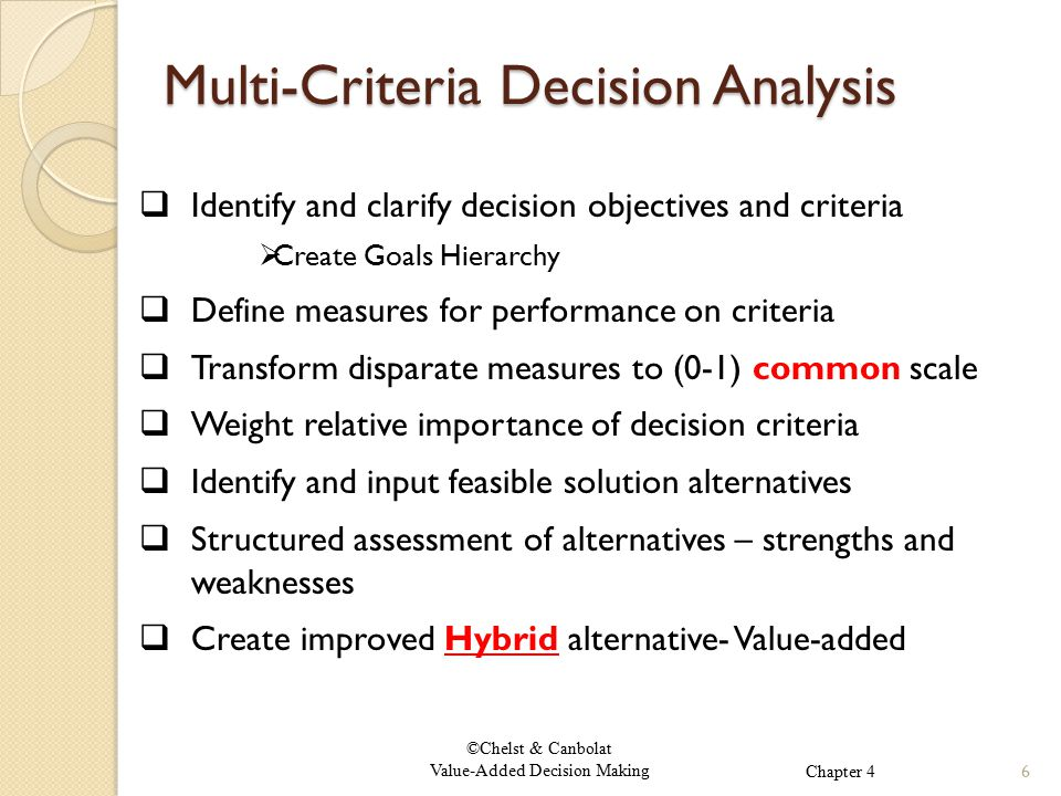 ©Chelst & Canbolat Value-Added Decision Making Multi-Criteria Decision Analysis Multi-Criteria Decision Analysis  Identify and clarify decision objectives and criteria  Create Goals Hierarchy  Define measures for performance on criteria  Transform disparate measures to (0-1) common scale  Weight relative importance of decision criteria  Identify and input feasible solution alternatives  Structured assessment of alternatives – strengths and weaknesses  Create improved Hybrid alternative- Value-added 6Chapter 4
