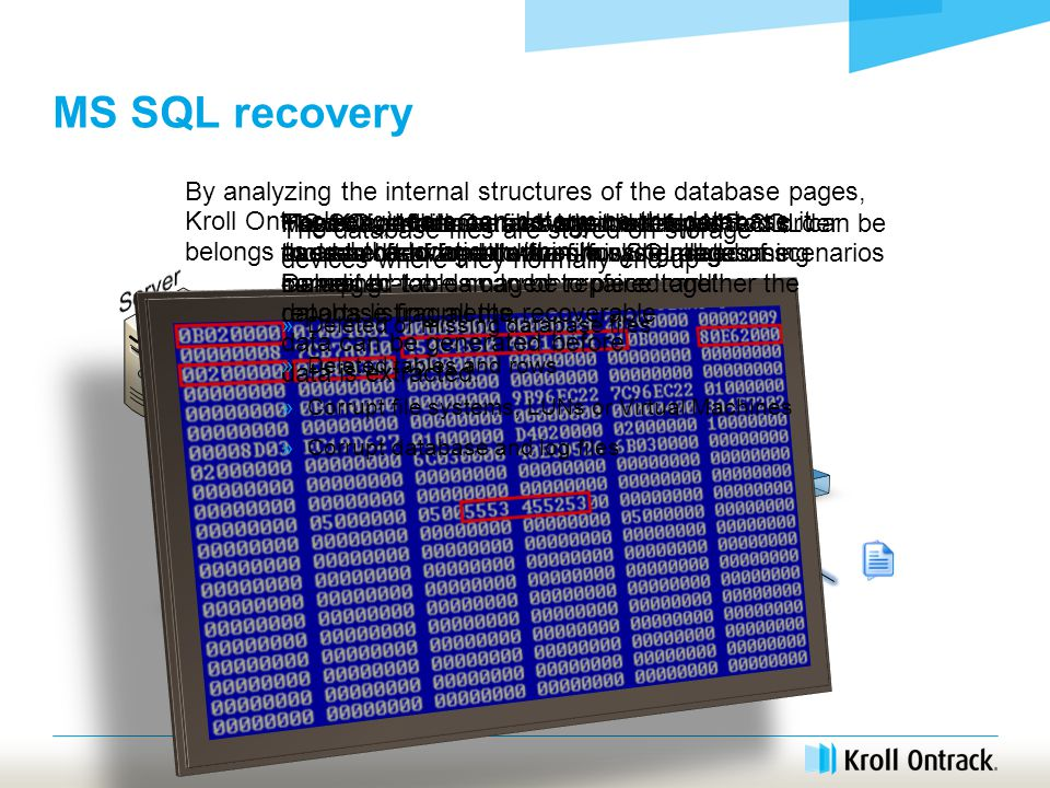 MS SQL recovery MS SQL database files are made up of thousands of small data chunks called 'pages'.