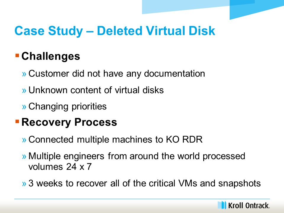 Case Study – Deleted Virtual Disk  Challenges »Customer did not have any documentation »Unknown content of virtual disks »Changing priorities  Recovery Process »Connected multiple machines to KO RDR »Multiple engineers from around the world processed volumes 24 x 7 »3 weeks to recover all of the critical VMs and snapshots
