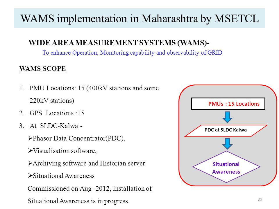 WAMS implementation in Maharashtra by MSETCL 23 WIDE AREA MEASUREMENT SYSTEMS (WAMS)- To enhance Operation, Monitoring capability and observability of GRID WAMS SCOPE 1.PMU Locations: 15 (400kV stations and some 220kV stations) 2.GPS Locations :15 3.At SLDC-Kalwa -  Phasor Data Concentrator(PDC),  Visualisation software,  Archiving software and Historian server  Situational Awareness Commissioned on Aug- 2012, installation of Situational Awareness is in progress.